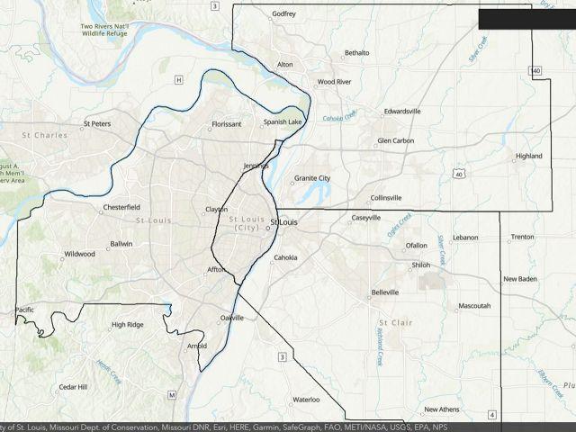 General map of St. Louis region
