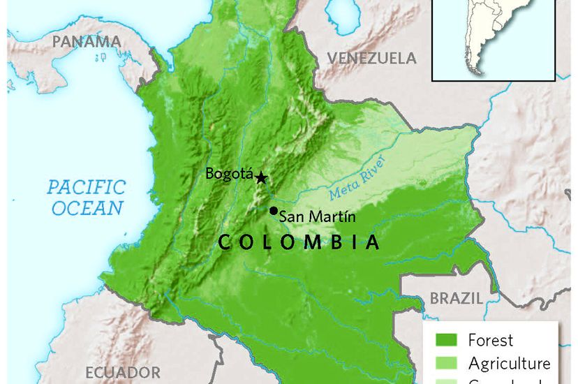Map of Colombia land use