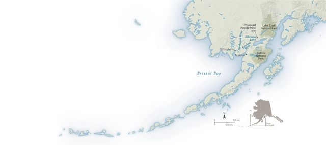 Map of Bristol Bay region showing locations of national parks, towns and the proposed site of Pebble Mine