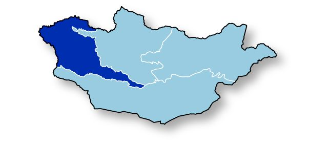 A map of Mongolia with the western region highlighted