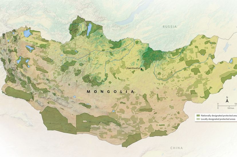 Map of protected lands in Mongolia