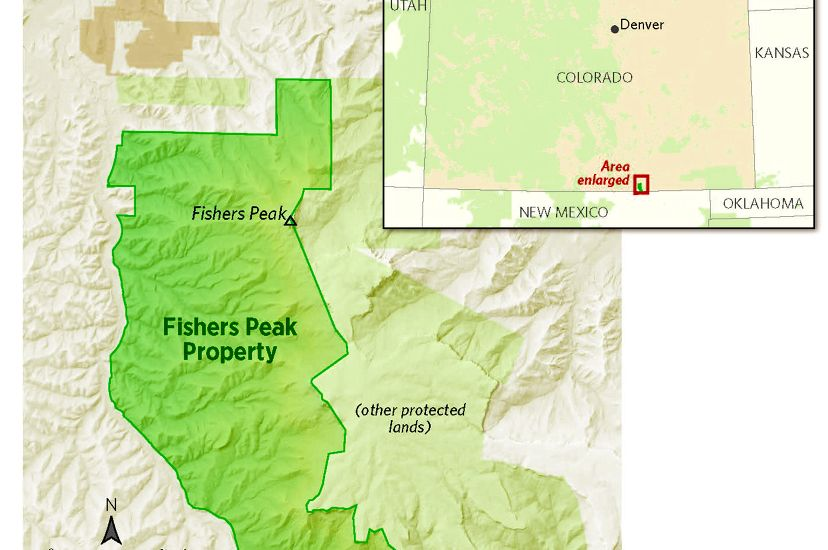 Map of Colorado showing Fishers Peak in the southeast corner of the state