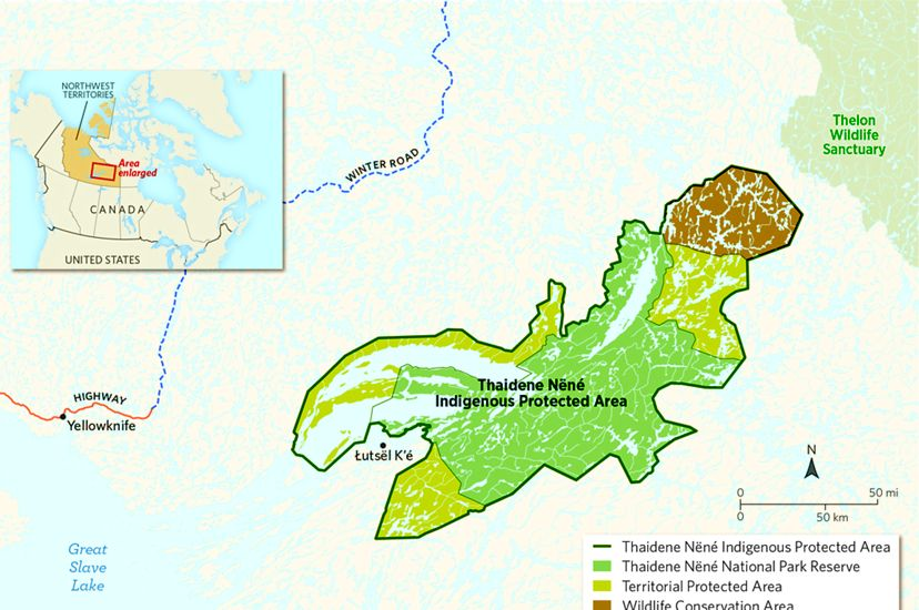 A map shows the Thaidene Nene Indigenous Protected Area in the Northwest Territories of Canada.