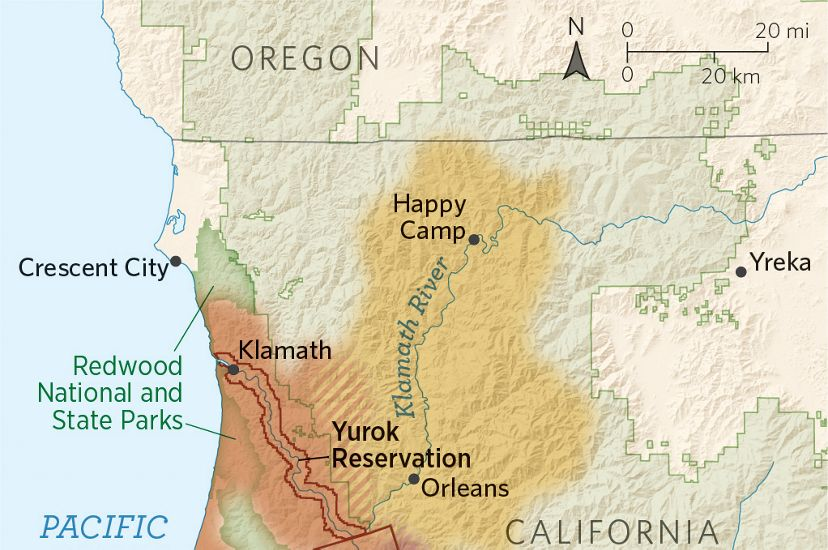 A map of Northern California showing the traditional lands of the Yurok, Karuk, and Hoopa Tribes.