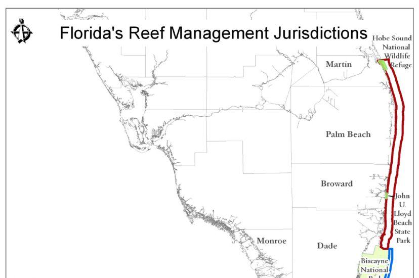 Map of Florida Reef Management Jurisdictions.