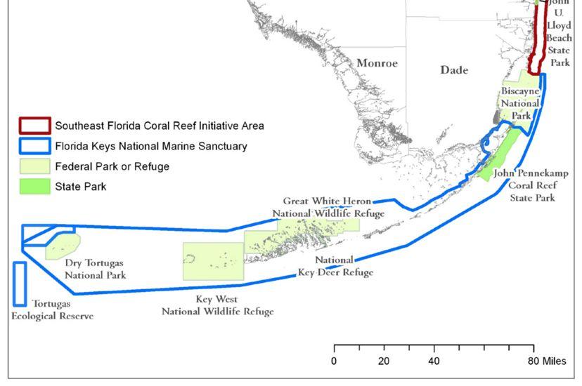 Map of Florida Reef Management Jurisdictions