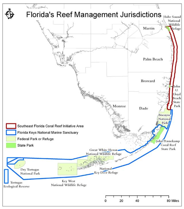 Map of Florida Reef Management Jurisdictions