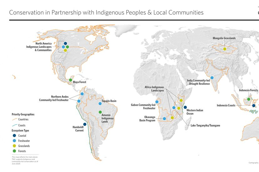 Map detailing where The Nature Conservancy works with Indigenous Peoples and local communities. As of June 2020.