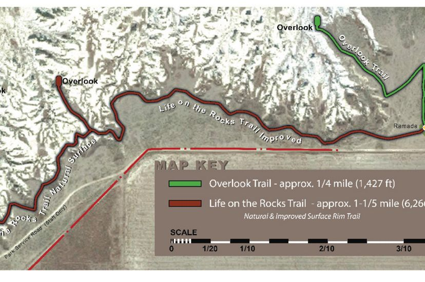 Map showing two trails that lead from the parking lot to overlook points in Little Jerusalem Badlands State Park in Kansas.