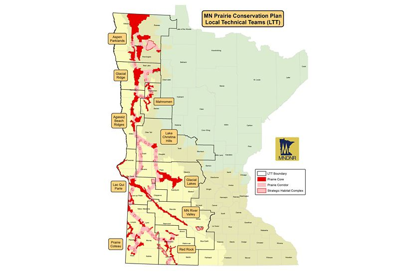 Prairie Conservation Plan Local Technical Teams (LTT) for prairie restoration in Minnesota. This map was updated in May 2017.