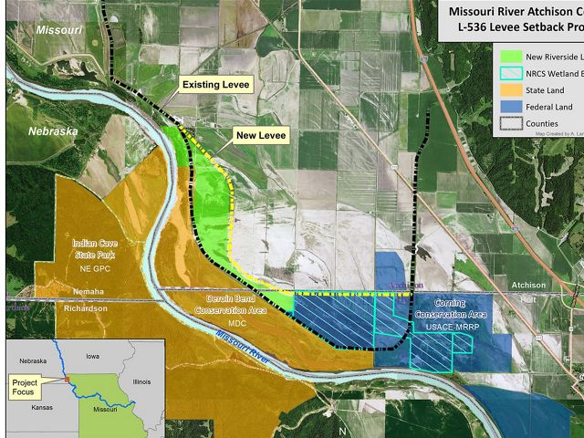Map of project area showing location of previous levee and new levee.