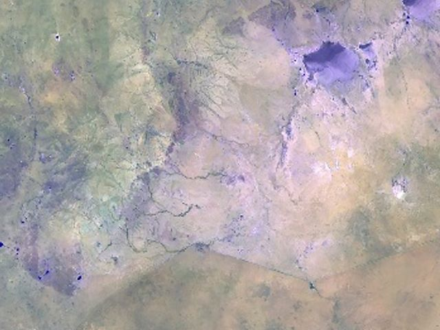 Satellite map showing border between China and Mongolia