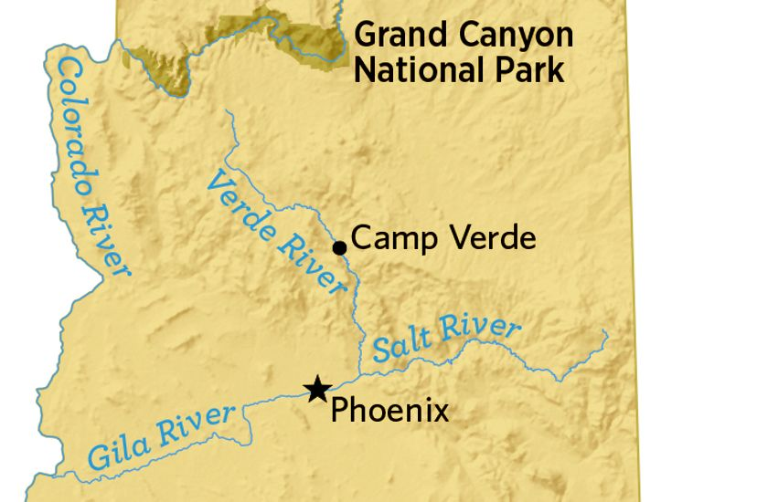 A map of Arizona shows where Camp Verde is.
