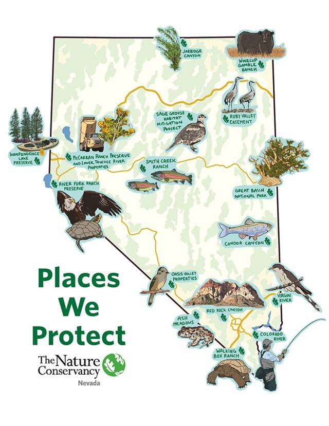 Map of places we protect in Nevada