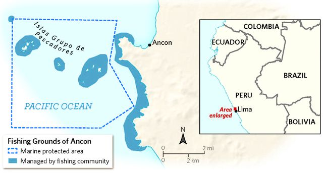 a map shows the fishing grounds off the coast of Peru