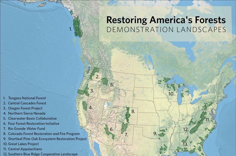 Map of Restoring America's Forests Demonstration Sites