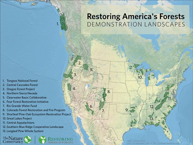 Map of Restoring America's Forests Demonstration Sites