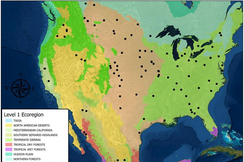 A map of North America, showing Soil Health Institute's 124 sites recording soil health data.