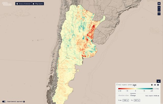 A map showing a new modeling approach of soil carbon storage in Argentina