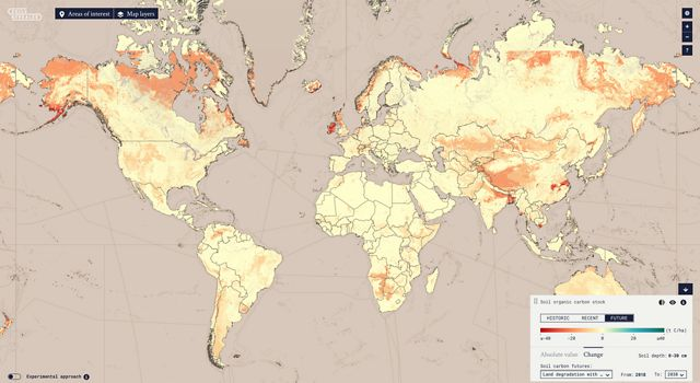 A global map showing potential carbon loss in future