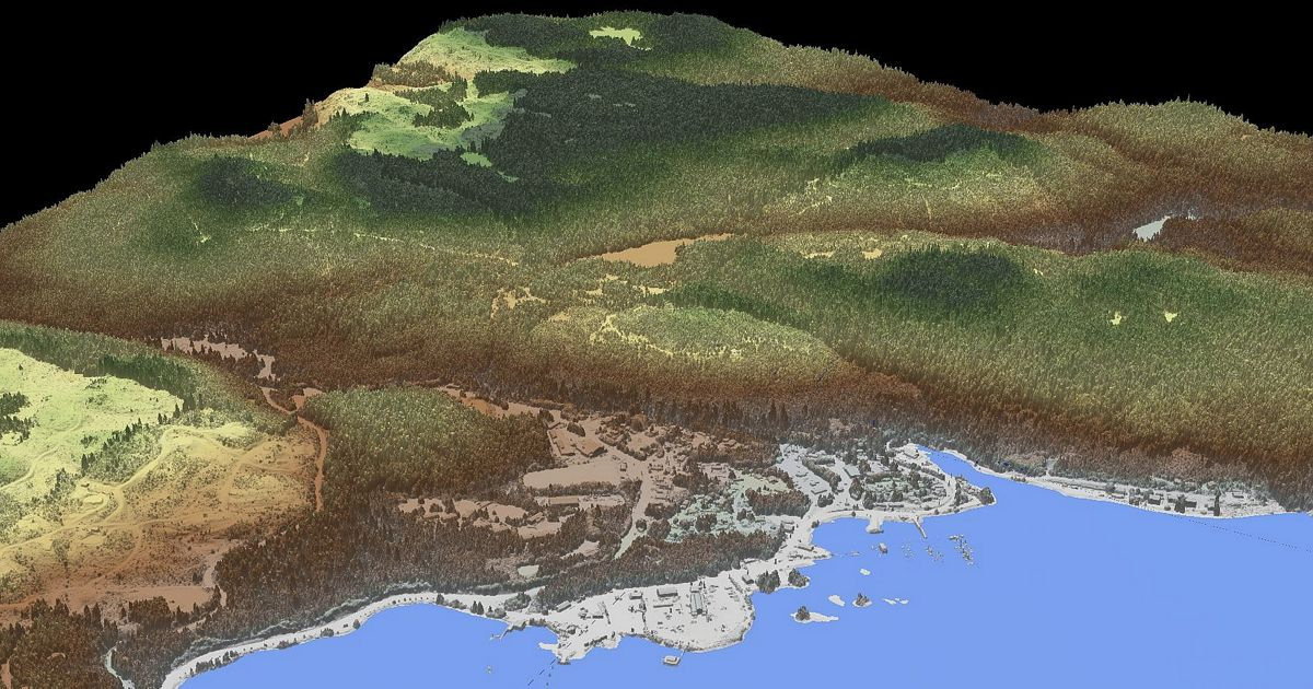 LiDAR image of Prince of Wales Island in Alaska
