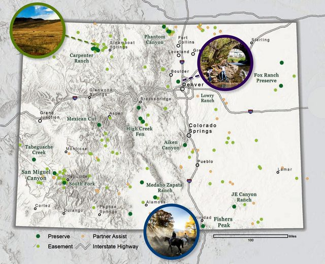 Map of Colorado showing TNC conservation focus areas.