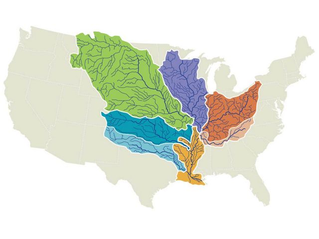 The Mississippi River and its tributaries drain 41 percent of the United States..