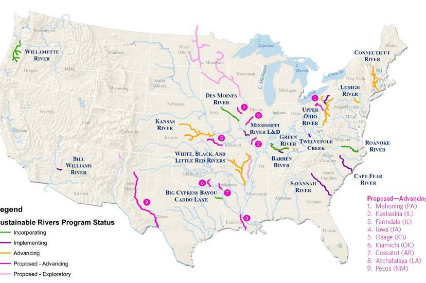 Map of U.S. showing rivers in the Sustainable Rivers Program