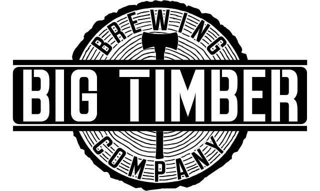 Black and white logo of West Virginia's Big Timber Brewing Company