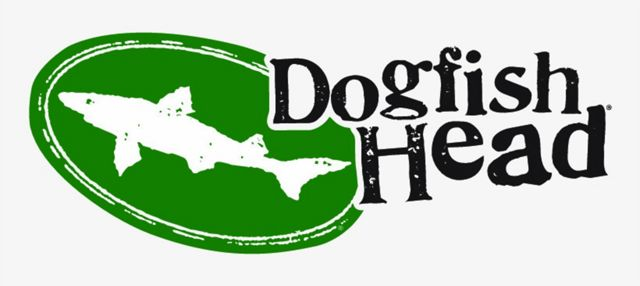 Dogfish Head Brewing logo. An illustration of a small dogfish shark is shown inside a green oval with the brewery's name.