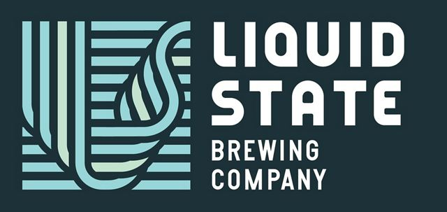 rectangle logo with light blue design for liquid state brewing