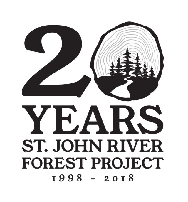 Logo for the 20th anniversary of the St. John River Forest Project.