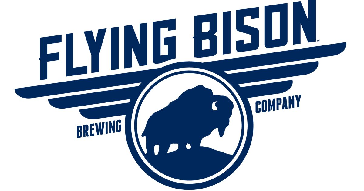 navy blue and white logo for flying bison brewing