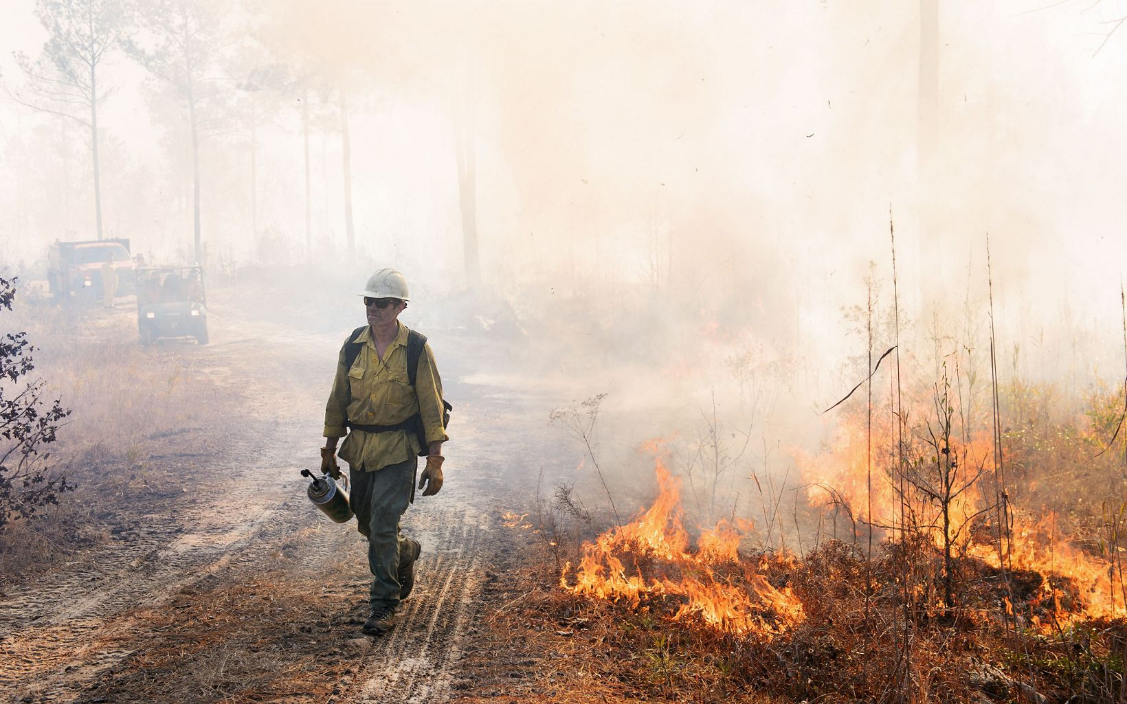 Crew members walk the fire lines to guide the flames and monitor fire behavior.