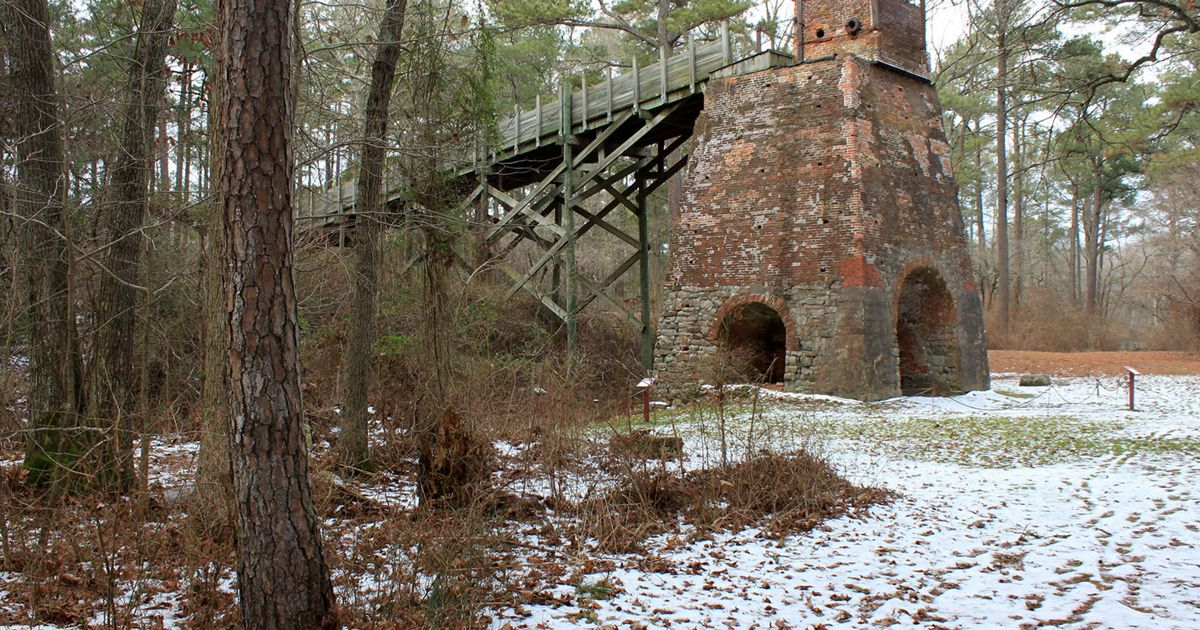 historic furnace in the snow