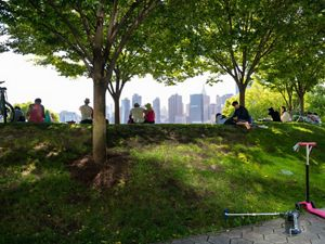 Several spaced out groups of people overlooking NYC skyline from a grassy park.