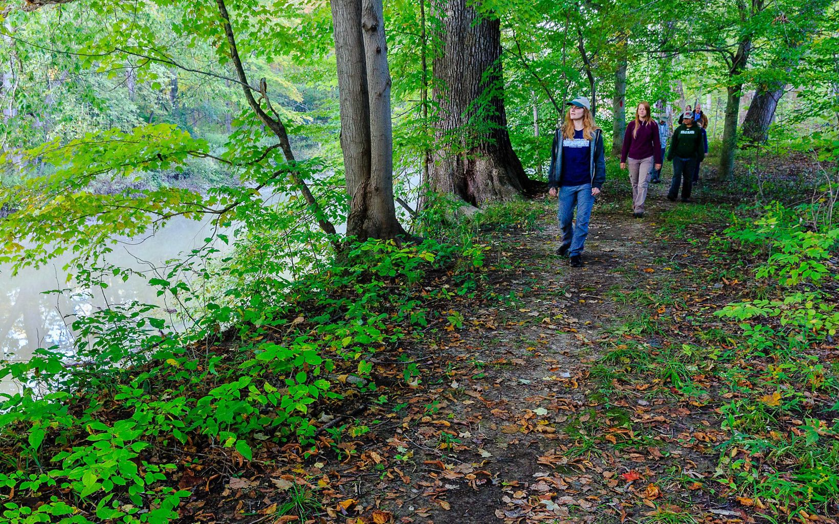 One of the trails travels through the woods and along a portion of the Grand River.  Stay observant, otter, beaver and other wildlife are known to inhabit the river.