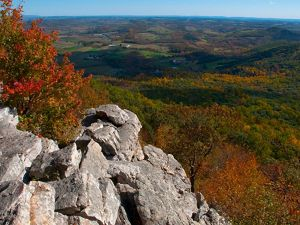 View from a rock outcropping overlooking fall colors in the forested valley below stretching out to the horizon.