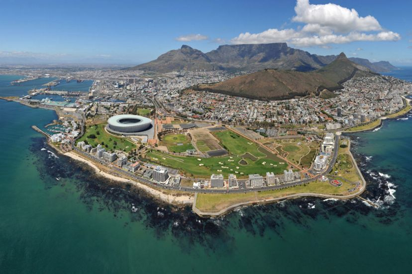 Aerial views of Cape Town, South Africa.