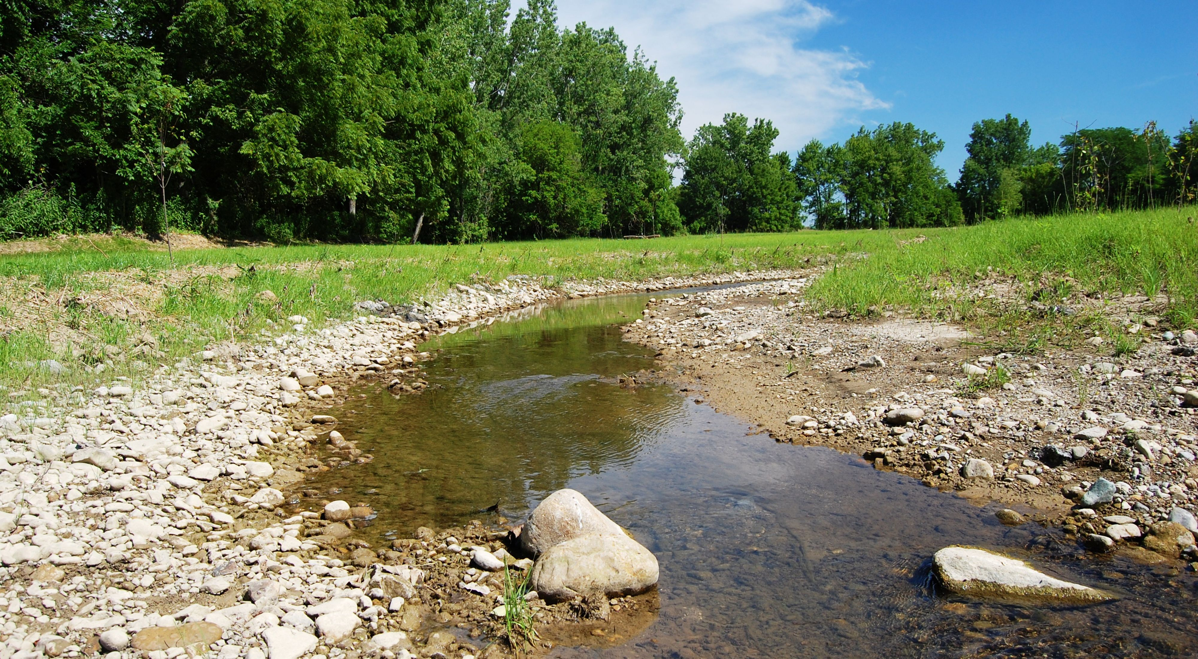 Stream restoration site at Big Darby Creek Headwaters Preserve