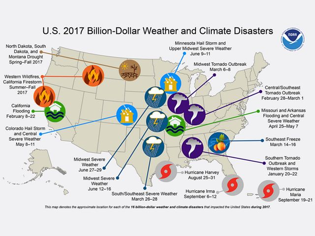 Map denoting the approximate location for billion-dollar weather disasters.