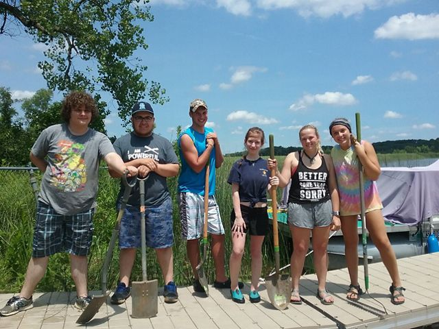 Interns Ian, Jorge, Collin, Erna, Lizzie, Gabrielle on the dock at the Lulu Lake Preserve, Wisconsin.