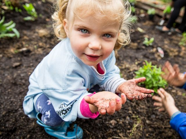 A blue eyed toddler crouches in the dirt during a school garden volunteer event. Her hands are covered in dirt. The hands of another child are visible next to her, blurred from brushing away dirt.