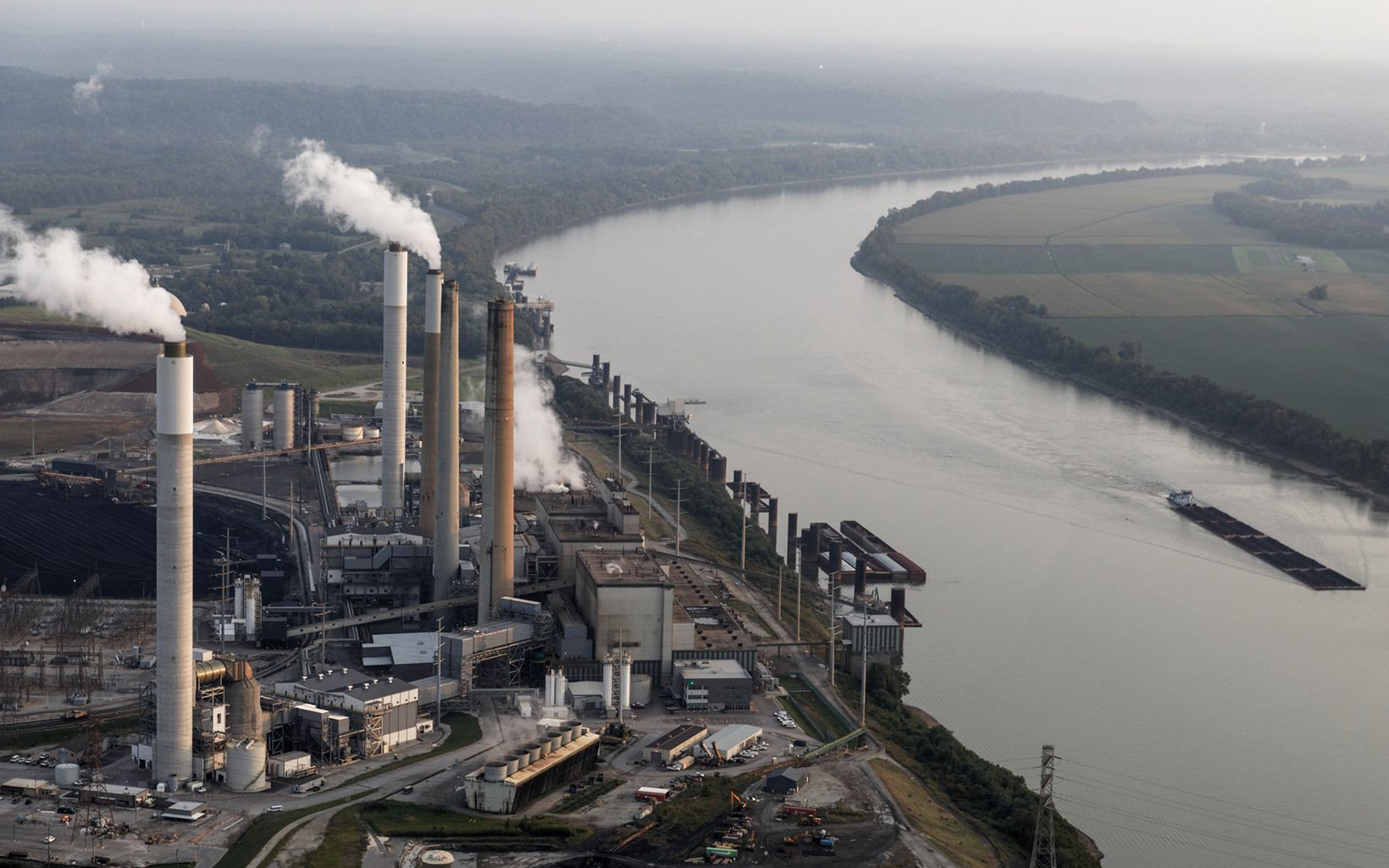 Mill Creek Coal Power Plant in Louisville. Louisville is located in the Ohio River Valley, and the geography causes polluted air from industrial centers to the north and west to linger over the city, resulting in local air quality issues.