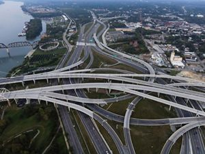 A tangle of highway roads in Louisville, Kentucky.