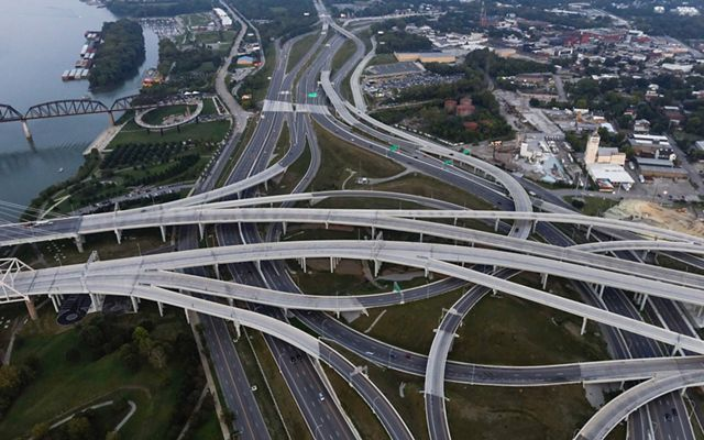 An aerial view of The Spaghetti Junction in Louisville, Kentucky, a mess of multiple highways converging.