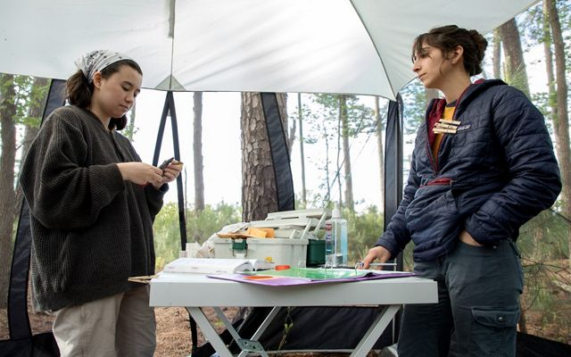 Two women stand across from each other with a long folding table between them. The table holds a number of materials and supplies needed for a bird banding project.