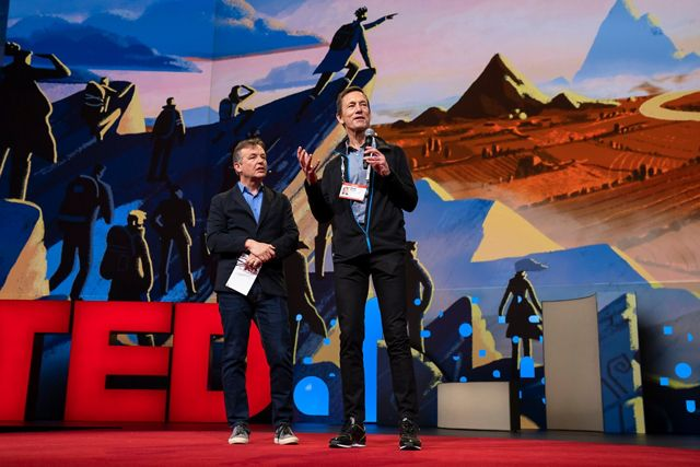 Mark Tercek and Chris Anderson, CEO of TED, on stage at TED conference.