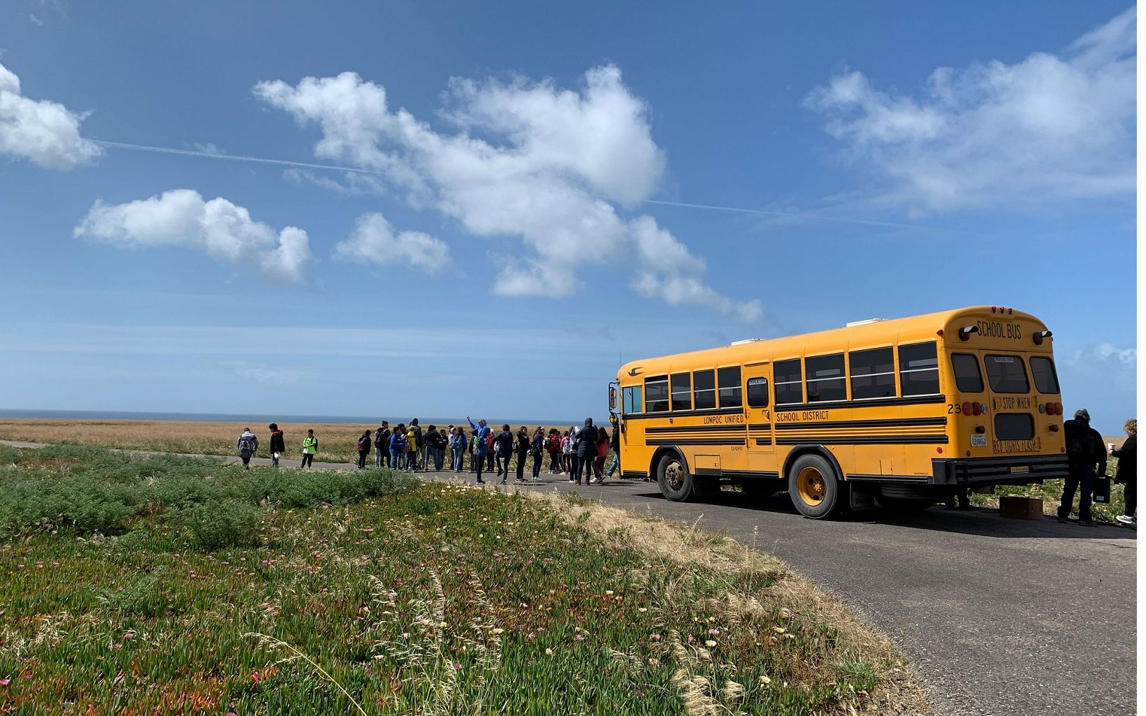 Fourth graders from Lahonda arrive at the preserve for an environmental education program.
