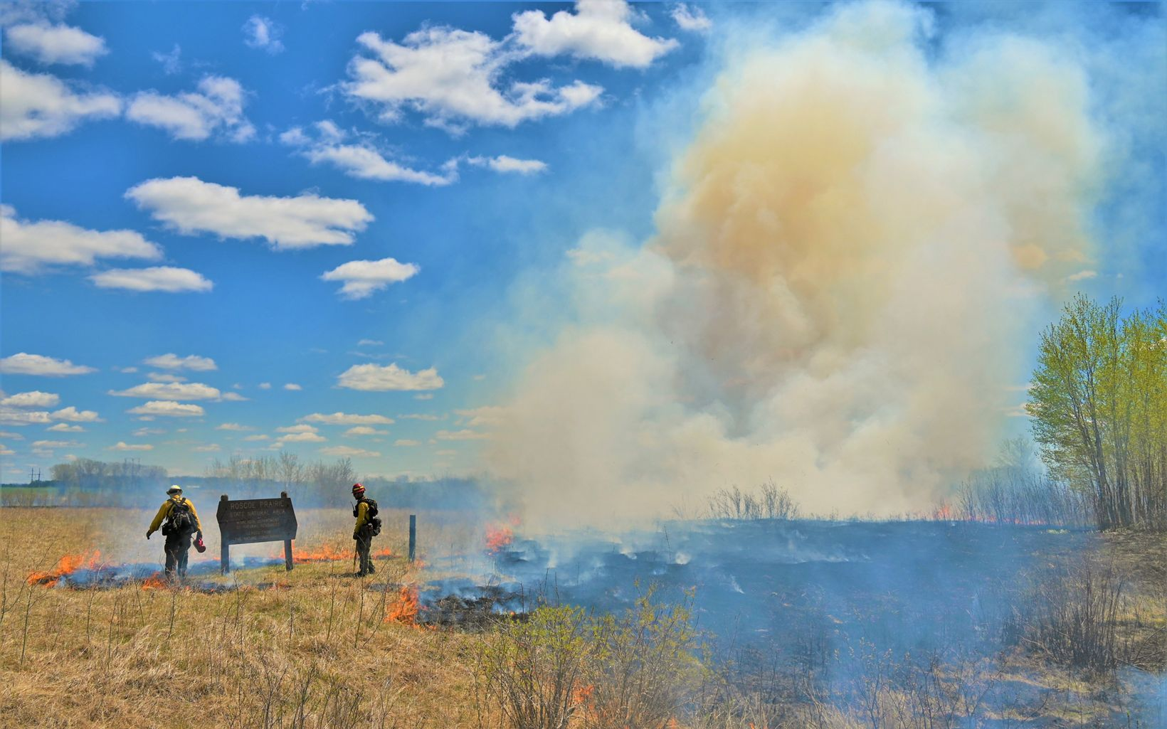 Two techs standing at a prescribed burn on the prairie during a clear day.